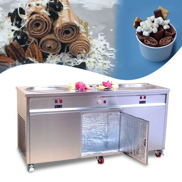 2020 new CE RoHs Approved Double Square / Round Pan Fried Ice Cream Roll Machine With 10 Tanks