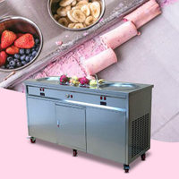 Commercial Popular Food Grade Stainless Steel Philippines Double Pan Flat Fried Ice Cream Rolls Machine